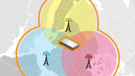 Map picture showing cellular coverage leading to bandwidth bonding