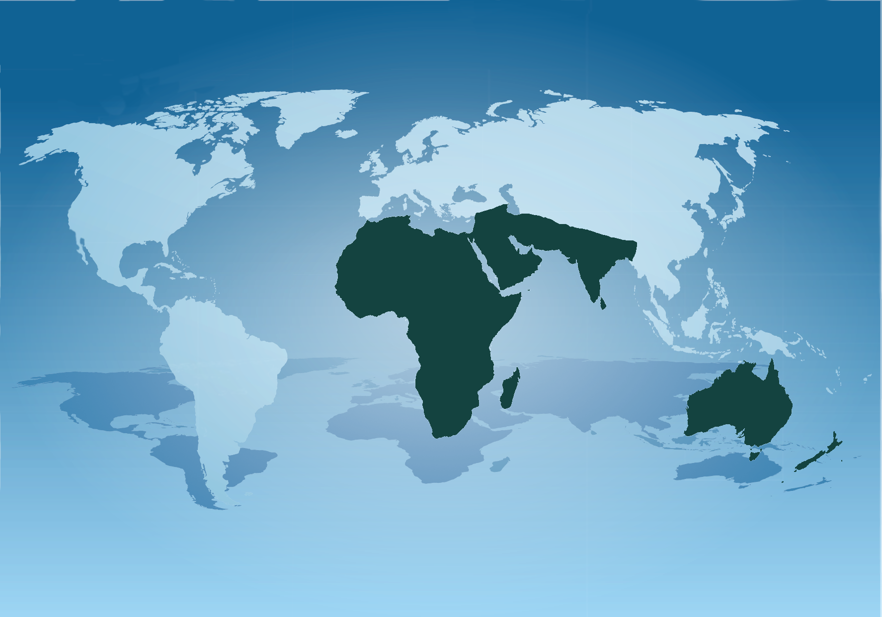 world map showing ADVANTESCO key markets: Africa, Middle East, India, New Zealand, Australia